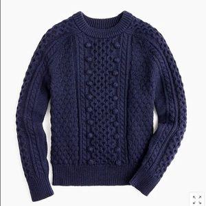Jcrew navy popcorn cableknit crewneck wool sweater
